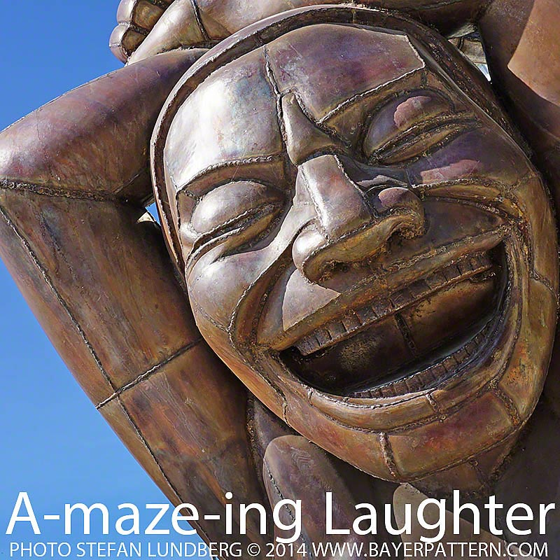 Images from A-maze-ing Laughter sculpture by Yue Minjun.